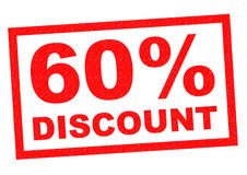 60% DISCOUNT. Red Rubber Stamp over a white background Stock Photo