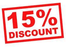 15% DISCOUNT. Red Rubber Stamp over a white background Royalty Free Stock Images