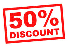 50% DISCOUNT. Red Rubber Stamp over a white background Stock Images