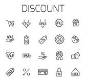 Discount related vector icon set. Well-crafted sign in thin line style with editable stroke. Vector symbols isolated on a white background. Simple pictograms Stock Photos