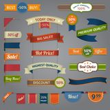 Discount retro ribbon color set Royalty Free Stock Photo