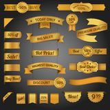 Discount retro ribbon golden set Royalty Free Stock Photography