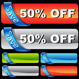 Discount Ribbon Bar Set Stock Photo