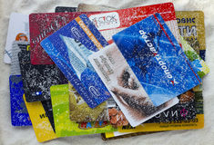 Discount Russian cards under pressure of the American sanctions Stock Photos