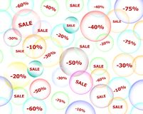 Discount sale. Bubbles with discount sale percents royalty free illustration