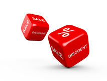Discount and Sale. Red dices with discount, sale texts and percentage symbol on different sides on isolated white background Royalty Free Stock Photos