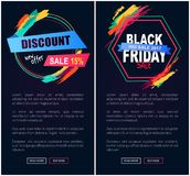 Discount Sale 15 Black Friday Vector Illustration. Discount sale -15 Black Friday, internet pages consisting of stickers with titles and ribbons, strokes and stock illustration