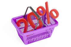 Discount and sale 20% concept, 3D rendering. On white background royalty free illustration