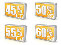 Discount 45% 50% 55% 60% sale 3d icon on white background. 45% 50% 55% 60% off, forty-five, fifty, fifty-five, sixty percent sale, 3d discount icon.  on white Royalty Free Stock Images
