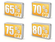 Discount 65% 70% 75% 80% sale 3d icon on white background. 65% 70% 75% 80% off, sixty-five, seventy, seventy-five, eighty percent sale, 3d discount icon. on stock illustration