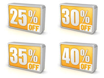 Discount 25% 30% 35% 40% sale 3d icon on white background Stock Photo