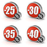 Discount 25% 30% 35% 40% sale 3d icon on white background. 25%, 30%, 35%, 40% discount percentage 3d sale icons set. Isolated on white background with clipping Royalty Free Stock Photos