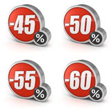 Discount 45% 50% 55% 60% sale 3d icon on white background. 45%, 50%, 55%, 60% discount percentage 3d sale icons set. Isolated on white background with clipping Royalty Free Stock Photo