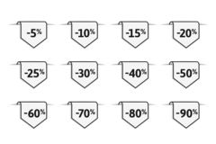 Discount and sale label with percent symbol. Set of tags with deals from 5% and up to 90% off vector illustration