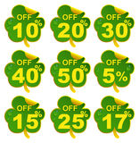 Discount sale leaf clover. 17 percent offer in St Patricks Day. Set isolated on white vector illustration Royalty Free Stock Images