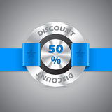 50% discount sale metallic badge Royalty Free Stock Photography
