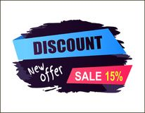 Discount Sale 15 New Offer Vector Illustration. Discount sale 15 new offer, promotional sticker with blue and pink stripes with text and shadow on background royalty free illustration