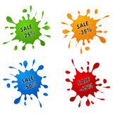 Discount sale pointer as the spilled paint Stock Photography