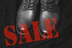 Discount on sale shoes. Royalty Free Stock Photo