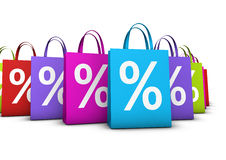 Shopping Bags Discount Concept. Discount, sale and shops offers concept with a lot of colorful shopping bags with frontal percent symbol  on white background Royalty Free Stock Photos