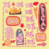 Discount sale stickers and tags Stock Image