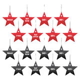 Discount and sale tags, star shape, vector  Royalty Free Stock Images