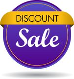 Discount sale web button icon. Vector illustration isolated on white background - discount sale web button icon Stock Image