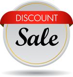 Discount sale web button icon. Vector illustration isolated on white background - discount sale web button icon Stock Photo