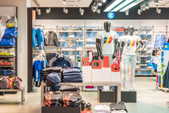 Discount Sales At Adidas Store. BUCHAREST, ROMANIA - JANUARY 28, 2015: Discount Sales At Adidas Store. Adidas is a German multinational corporation that designs Royalty Free Stock Image