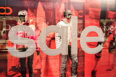 Discount Sales At Adidas Store. BUCHAREST, ROMANIA - JANUARY 28, 2015: Discount Sales At Adidas Store. Adidas is a German multinational corporation that designs Royalty Free Stock Photo