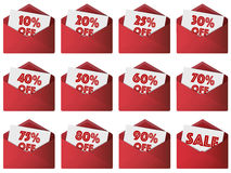 Discount sales envelopes. Twelve red unsealed envelopes with white discount tickets sticking out ranging from 10 to 90% off and one simply marked 'sale' in red Stock Photos