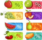 Discount set. Vector illustration of a vegitable and fruits discount set Stock Image