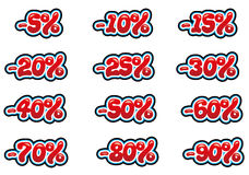 Discount set. Discounts sale set in red and bubble font Stock Photos