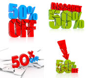 50% discount set. 50 percent discount icon set on white background Stock Photo