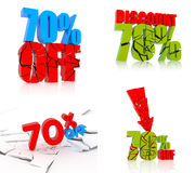 70% discount set. 70 percent discount icon set on white background Vector Illustration