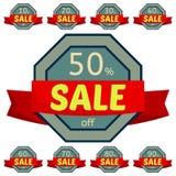 discount set stickers Γκρίζα διακριτικά με την κόκκινη κορδέλλα για την πώληση 10 - 90 τοις εκατό μακριά Στοκ φωτογραφία με δικαίωμα ελεύθερης χρήσης