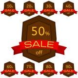 discount set stickers Καφετιά διακριτικά με την κόκκινη κορδέλλα για την πώληση 10 - 90 τοις εκατό μακριά Στοκ εικόνες με δικαίωμα ελεύθερης χρήσης