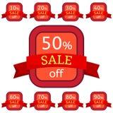 discount set stickers Κόκκινα διακριτικά με την κόκκινη κορδέλλα για την πώληση 10 - 90 τοις εκατό μακριά Στοκ εικόνα με δικαίωμα ελεύθερης χρήσης