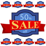 discount set stickers Μπλε διακριτικά με την κόκκινη κορδέλλα για την πώληση 10 - 90 τοις εκατό μακριά Στοκ φωτογραφία με δικαίωμα ελεύθερης χρήσης
