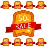 discount set stickers Πορτοκαλιά διακριτικά με την κόκκινη κορδέλλα για την πώληση 10 - 90 τοις εκατό μακριά Στοκ Φωτογραφία