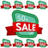 discount set stickers Πράσινα διακριτικά με την κόκκινη κορδέλλα για την πώληση 10 - 90 τοις εκατό μακριά Στοκ Φωτογραφίες