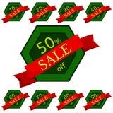 discount set stickers Πράσινα εξαγωνικά διακριτικά με την κόκκινη κορδέλλα για την πώληση 10 - 90 τοις εκατό μακριά Στοκ Φωτογραφίες