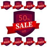 discount set stickers Σκούρο κόκκινο διακριτικά με την κόκκινη κορδέλλα για την πώληση 10 - 90 τοις εκατό μακριά Στοκ εικόνα με δικαίωμα ελεύθερης χρήσης