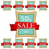 discount set stickers Τετραγωνικά διακριτικά με την κόκκινη κορδέλλα για την πώληση 10 - 90 τοις εκατό μακριά Στοκ Εικόνα