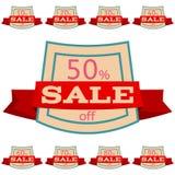 discount set stickers Τετραγωνικά διακριτικά με την κόκκινη κορδέλλα για την πώληση 10 - 90 τοις εκατό μακριά Στοκ Φωτογραφία