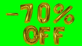 Discount 70 seventy percent off golden balloon sale banner floating on green screen shopping offer -. Discount 70 seventy percent off golden balloon sale banner stock video footage