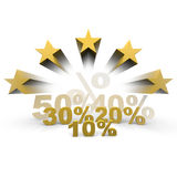 Discount. Several numbers and percentages with stars Royalty Free Stock Images