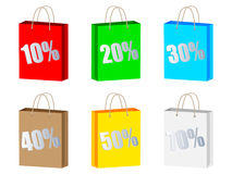 Discount on shopping bag. Different colors Royalty Free Stock Photo