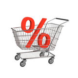 Discount shopping cart. Isolated on the white Royalty Free Stock Photography