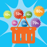 Discount shopping cart vector illustration Royalty Free Stock Images